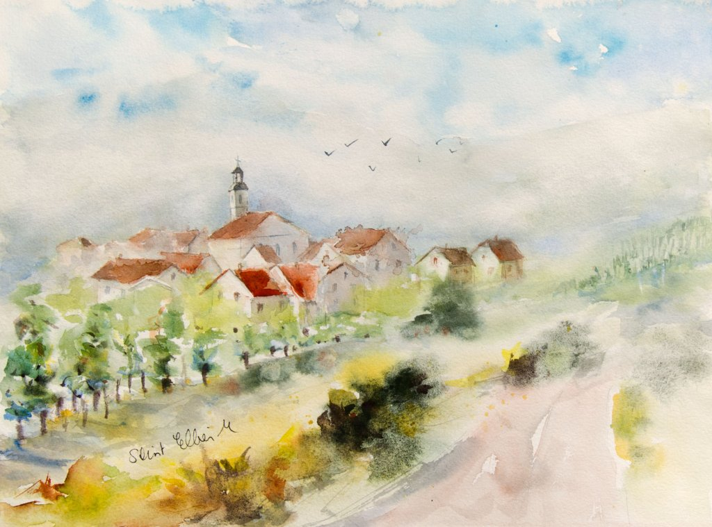 Landscape Watercolor Painting by Martine Jacquel Saint Ellier - France
