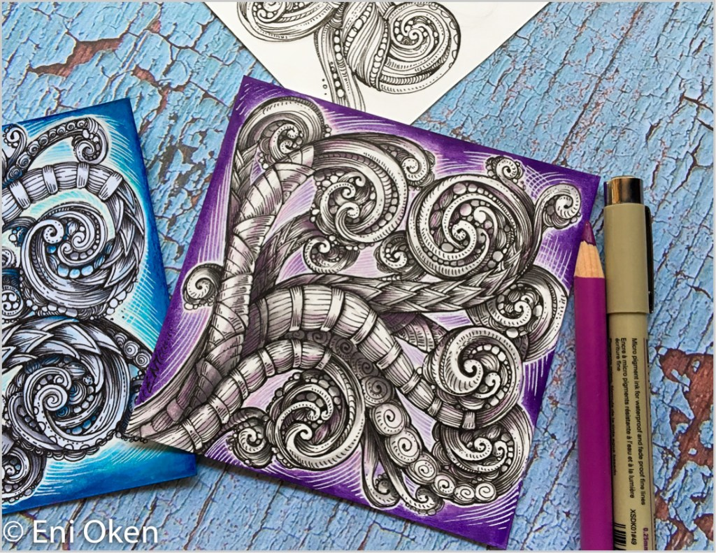 My work is heavily Zentangle oriented. This is Tangled Scrollwork, an adaptation of traditional Scro