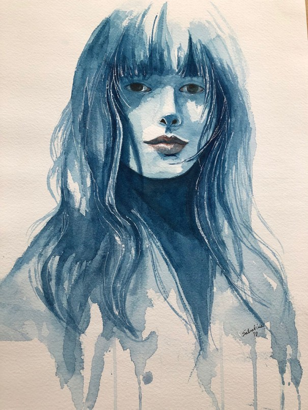 Shades of Blue Woman Watercolor by Bernadette Sabatini - Doodlewash