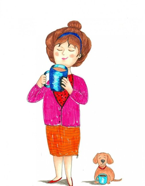 Woman And Dog Having Coffee Illustration by Bernadette Sabatini - Doodlewash