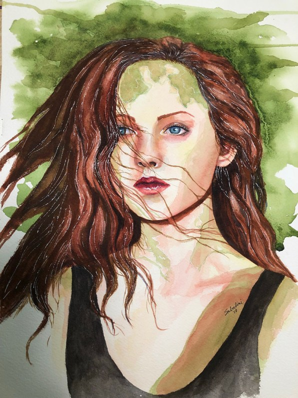 Woman In Green Watercolor by Bernadette Sabatini - Doodlewash