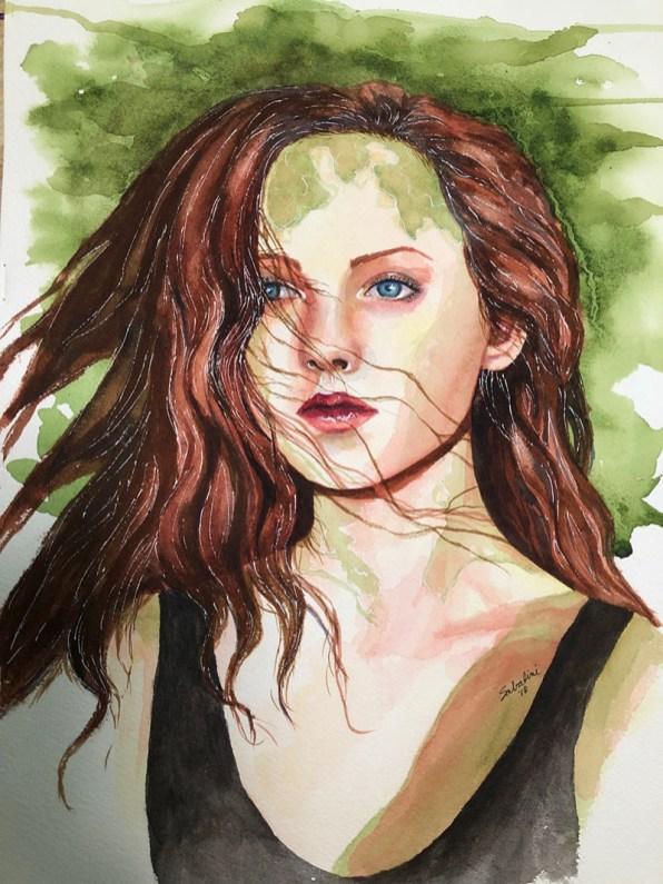 Woman In Green Watercolor by Bernadette Sabatini - Doodlewash
