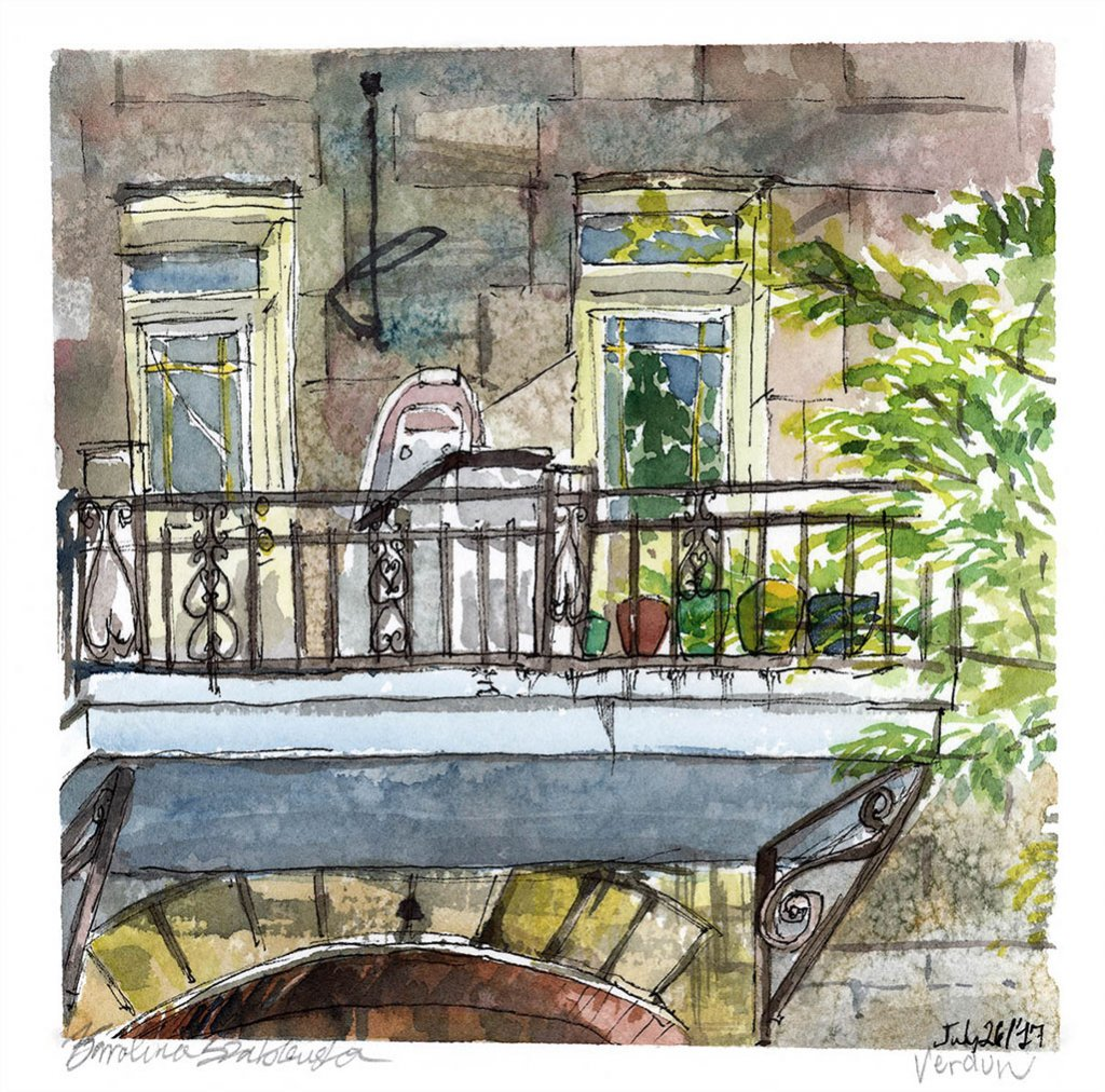 Wellington Street Balcony - Watercolor by Karolina Szablewska - Doodlewash