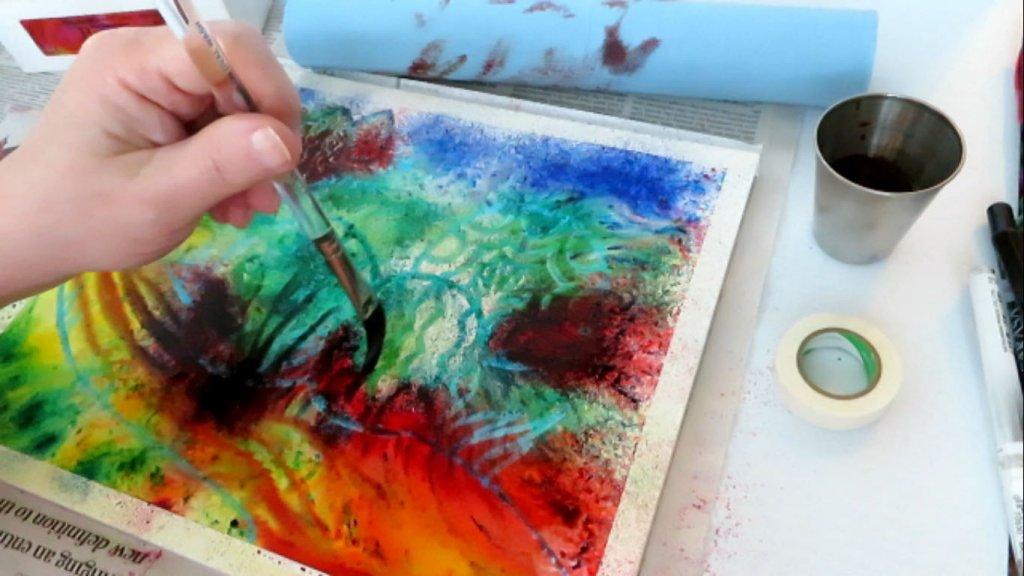 Brusho Color Crystal - Adding Detail - Doodlewash