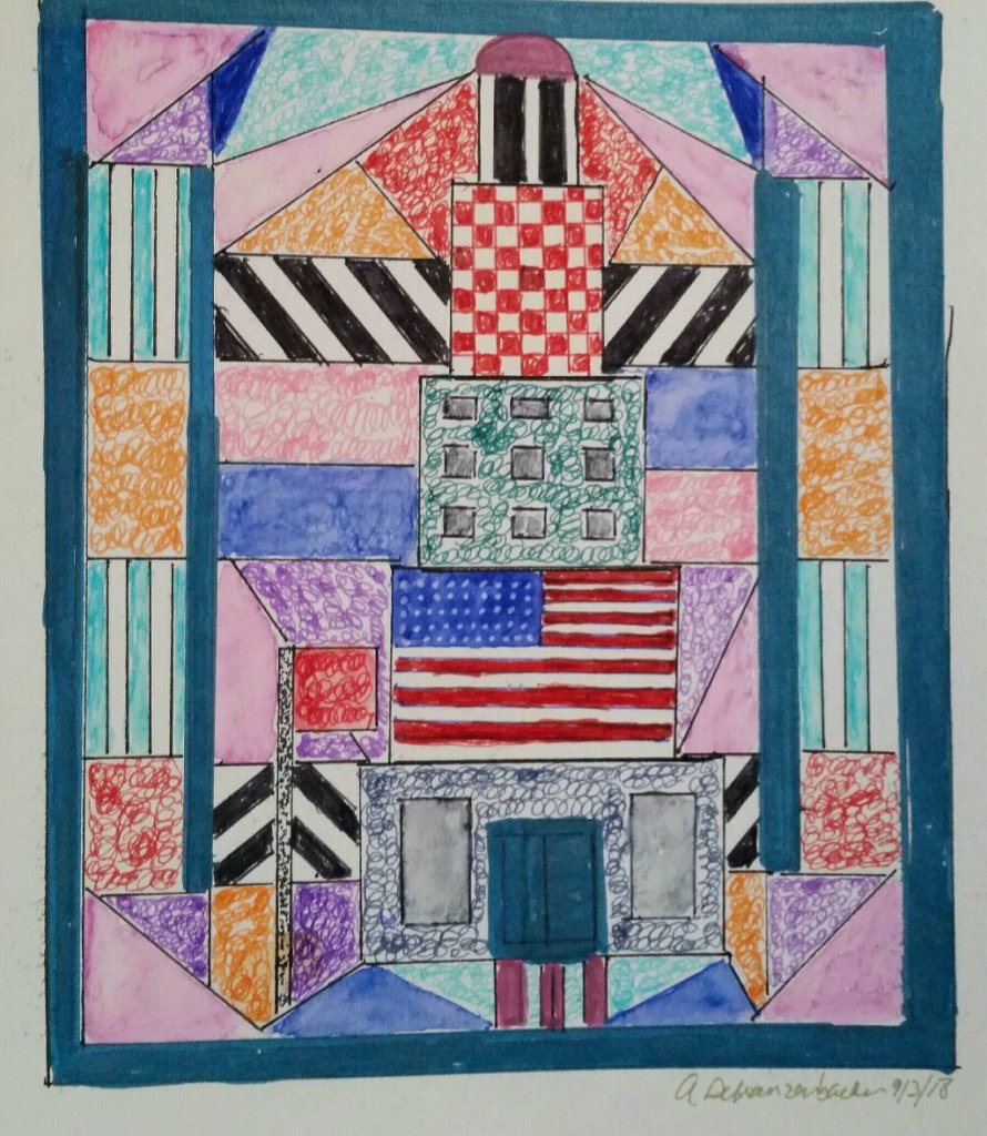 Here is a quilt with a skyscraper. I combined it with sketch skool daily sketching. 2018-09-03 12.14