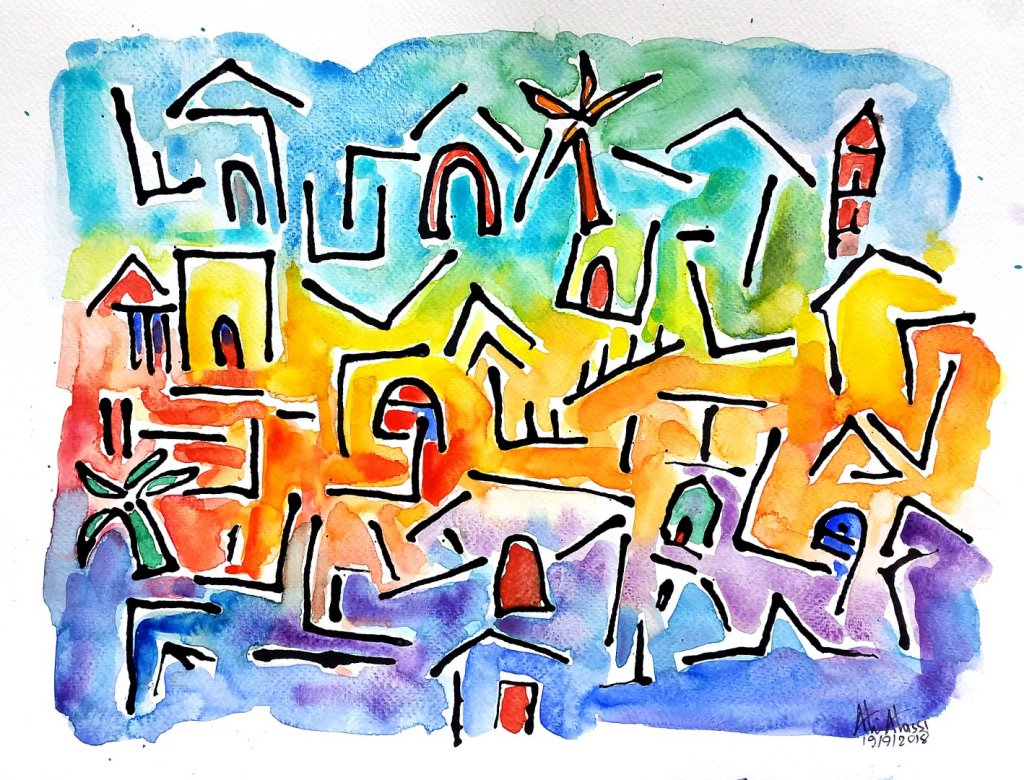 Cyprus villages, Ink, Daniel Smith watercolors on cold press paper, 42 x 30 cm 20180919_222021 (Larg