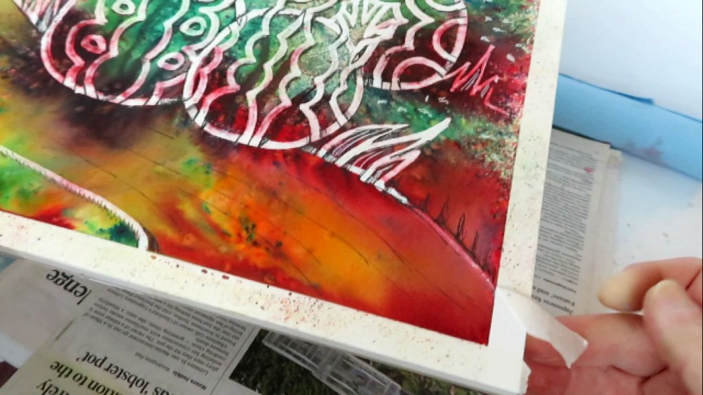 Batik Style Watercolor Painting - Removing Masking Tape - Doodlewash