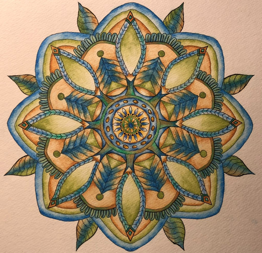 I just had to try creating a Mandala. I used watercolor pencils then brushes and water. 21B5593F-2C4