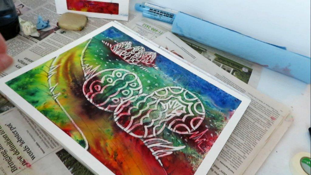 Batik-Style Painting in Watercolor - Final Art - Doodlewash