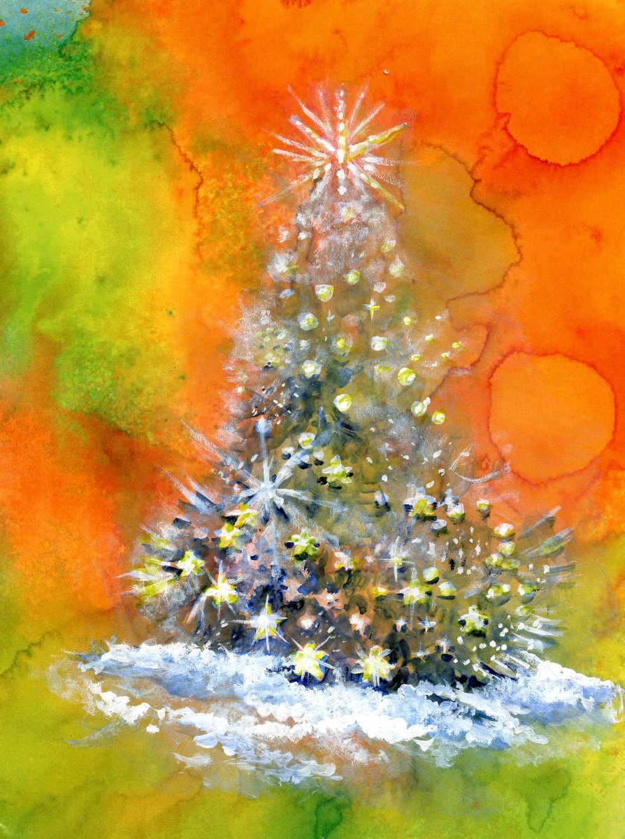 Christmas Tree Watercolor by Sandra Strait