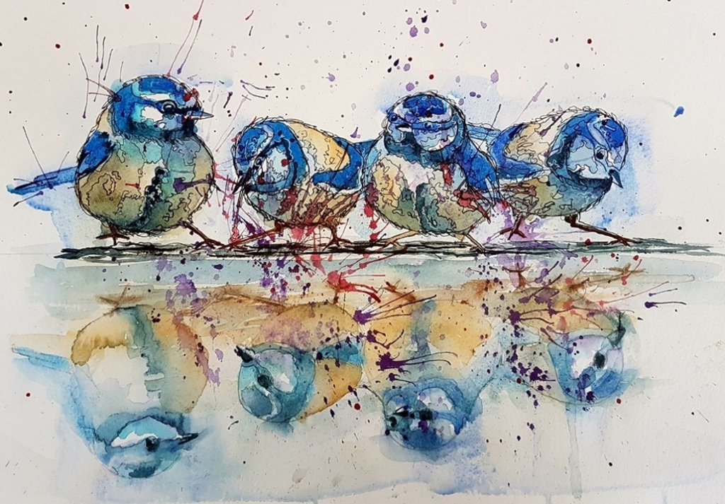 Birds Watercolor Painting by Angela Emsen-West