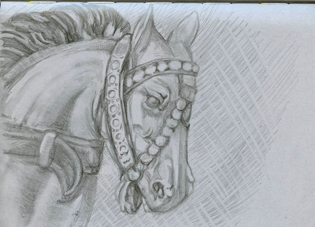 Grey Book Illustration of Carousel Horse by Sandra Strait - Doodlewash