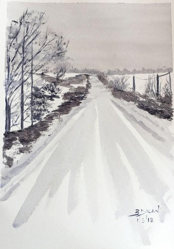 Culmullen Road Snow Watercolor by Bernadette Tully Dolan - Doodlewash