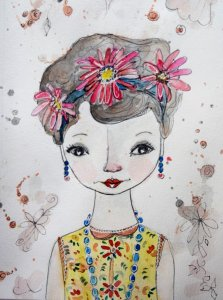 """Some of my """"sweet girls"""" watercolor/ink- i love playing with the whimsy and innocence of"""