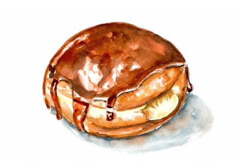 Day 14 - Cream Filled Doughnut Day Watercolor Boston Cream - Doodlewash