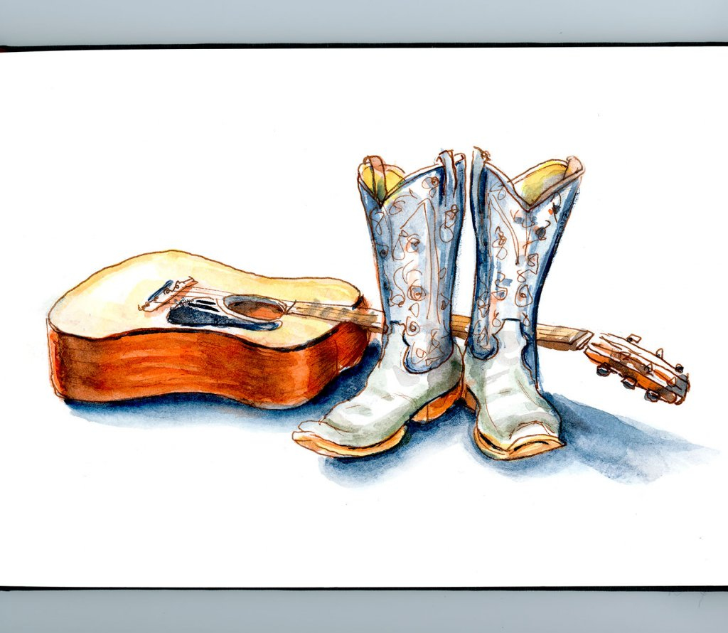 Day 17 - Country Music Day Guitar Boots Watercolor - Doodlewash