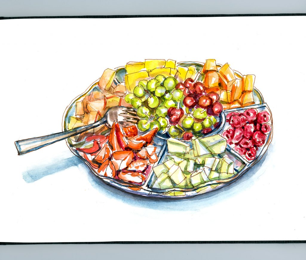 Day 24 - Family Day Fruit Tray Watercolor - Doodlewash
