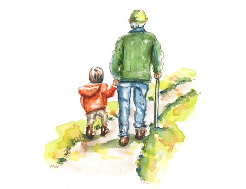 Day 9 - Grandparents Day Watercolor Boy and Grandfather - Doodlewash