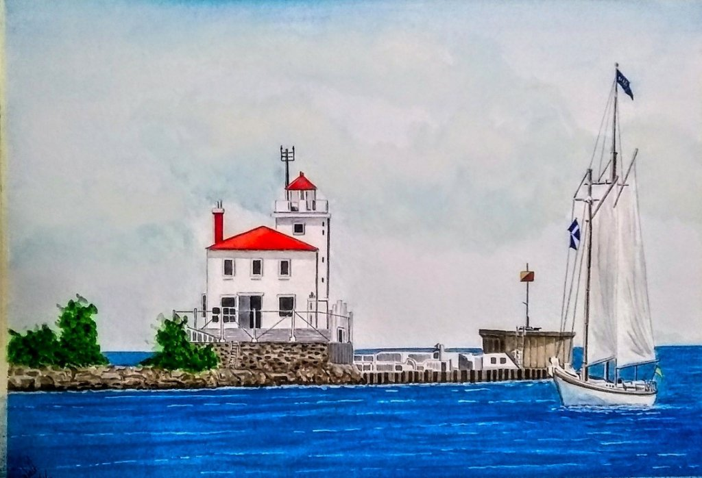 Here is some of my Art Work… Fairport Harbor West Light Main USA 14 x 20Stilt Houses Chiloe 9
