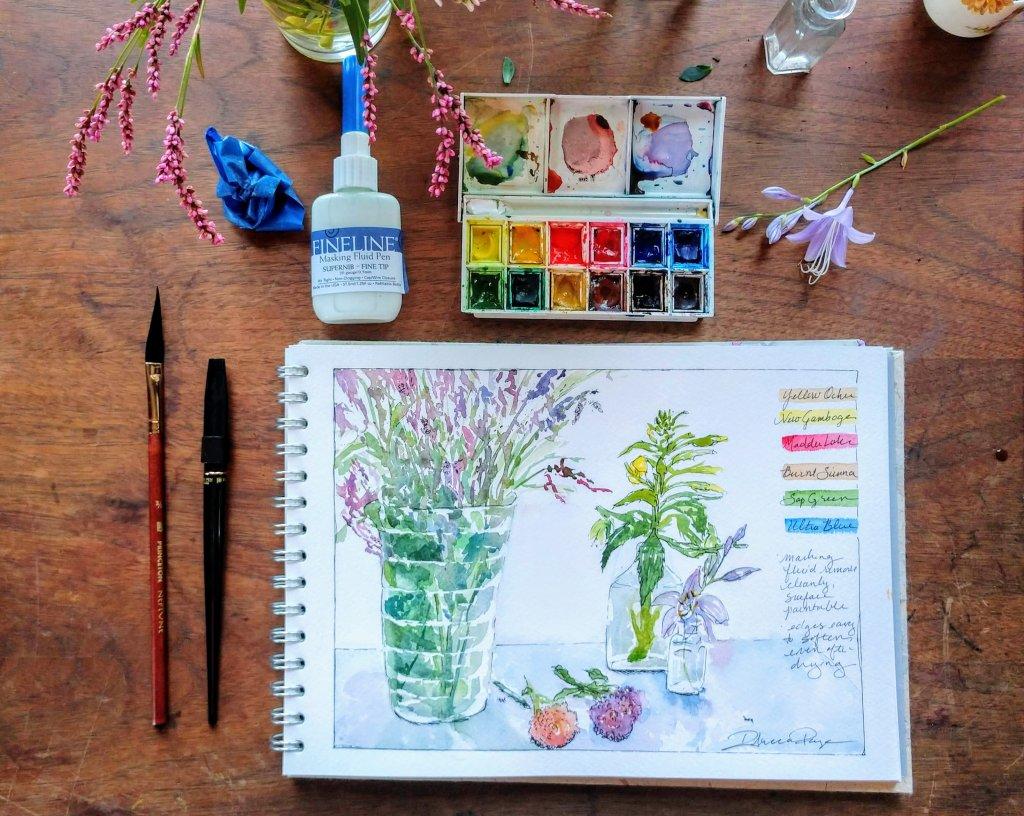 Pink Pig watercolour sketchbook for art journaling example
