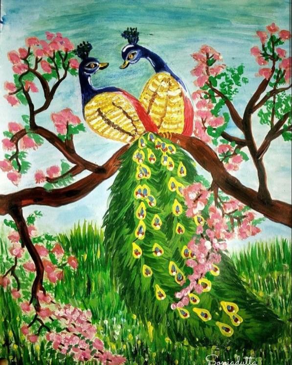 Painting by Sonia Dutta - Peacocks - Doodlewash