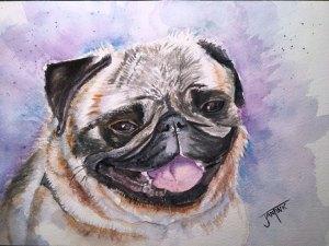 Happy Pug, Daniel Smith Watercolors on Arches Cold Press, 7 x 10 Pug3