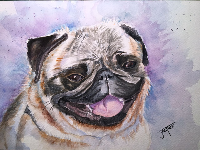 Happy Pug, Daniel Smith Watercolors on Arches Cold Press, 7 x 10 Pug3