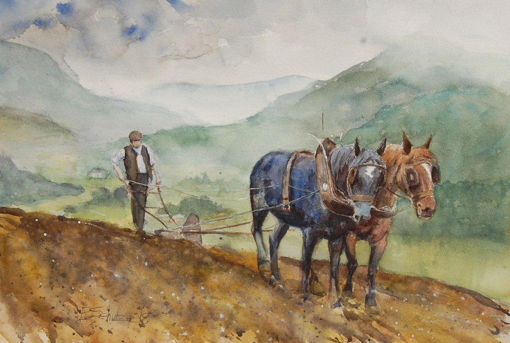Watercolor Painting by Brad Schulze - Sidehill Plowing Horses - Doodlewash