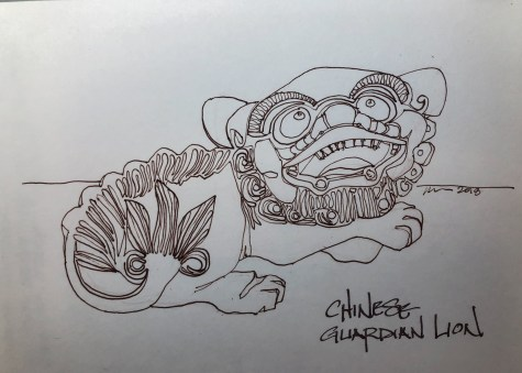 Chinese Lion Guard; process on blog: https://dkatiepowellart.me/2018/09/14/chinese-lion-guards/ W18