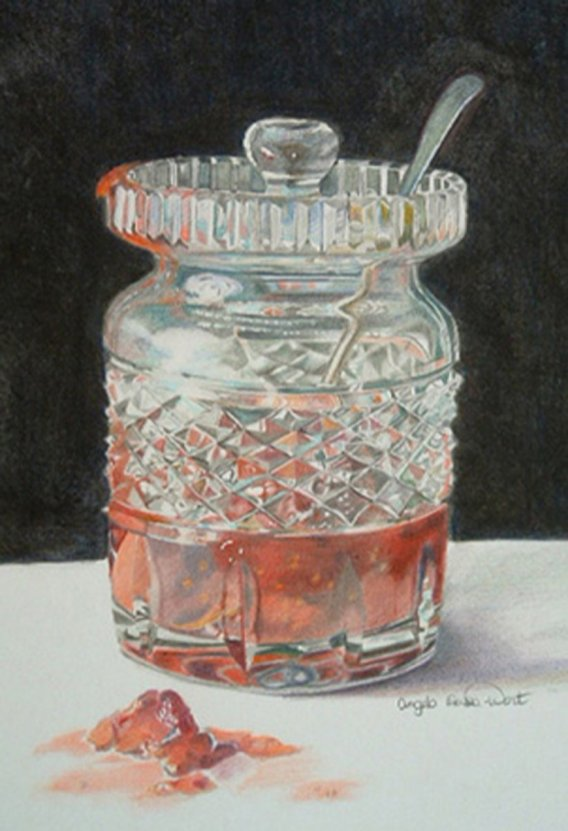 Jam Glass Watercolor Painting by Angela Emsen-West
