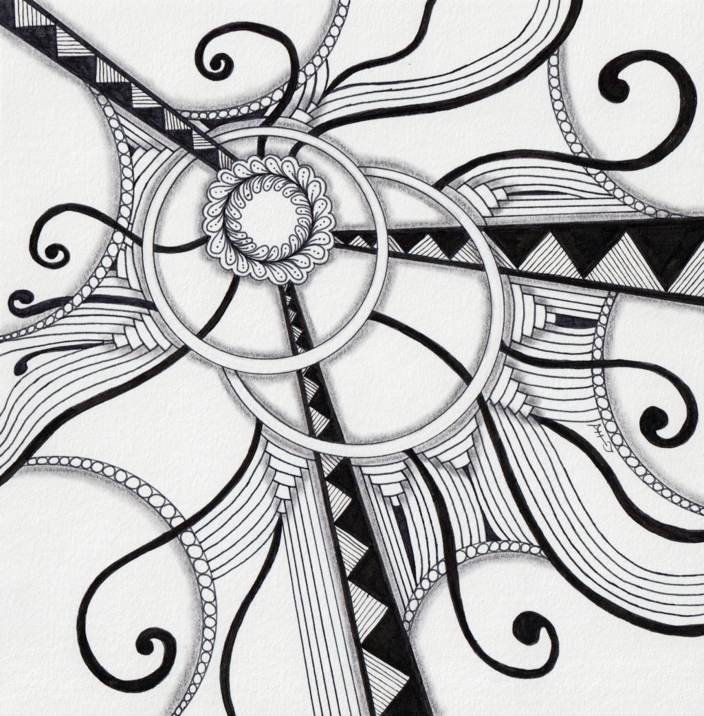 Zentangle® Art Example by Alice Hendon - Doodlewash®