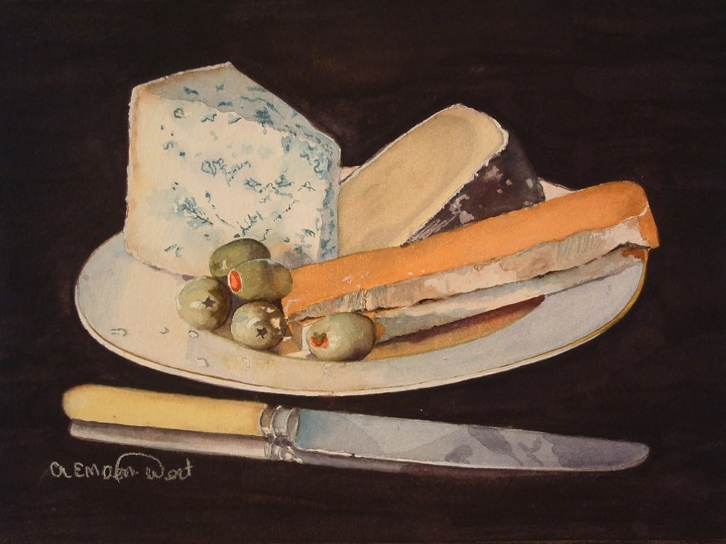 Cheese And Olives Watercolor Painting by Angela Emsen-West