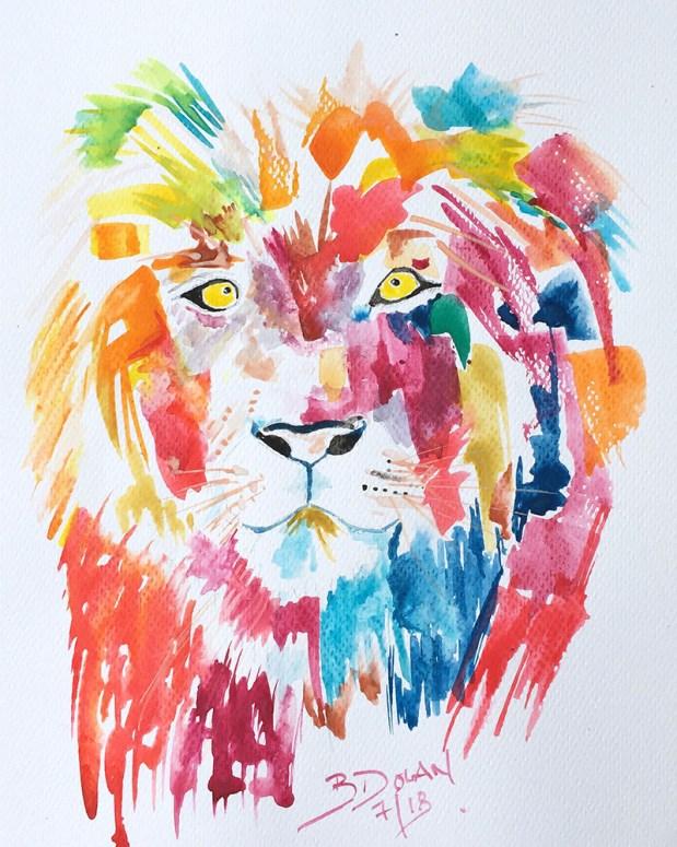 Lion Watercolor by Bernadette Tully Dolan - Doodlewash