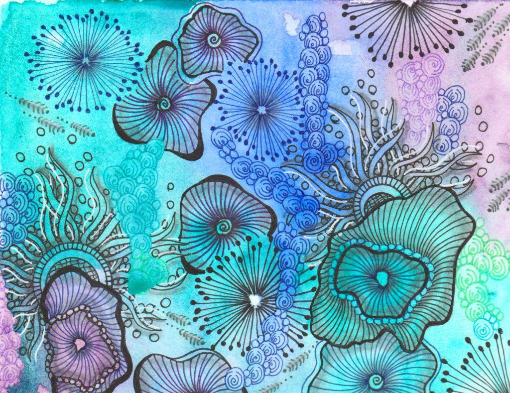 Tangle Art Watercolor Example by Alice Hendon - Doodlewash®