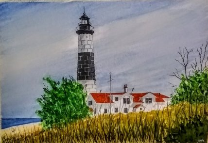 Big Sable Point Lighthouse, Ludington State Park Watercolor Painting by Walt Pierluissi - Doodlewash
