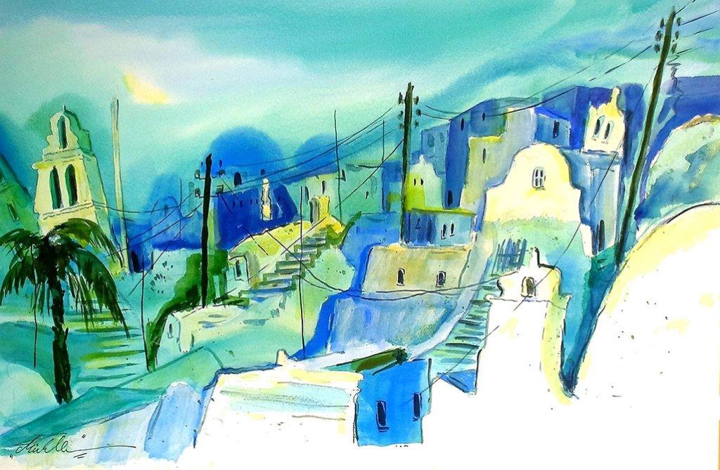 Santorin Greece Watercolor by Thomas Mühlbauer - Doodlewash
