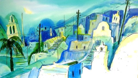 Santorin Greece Watercolor by Thomas Mühlbauer - Doodlewash