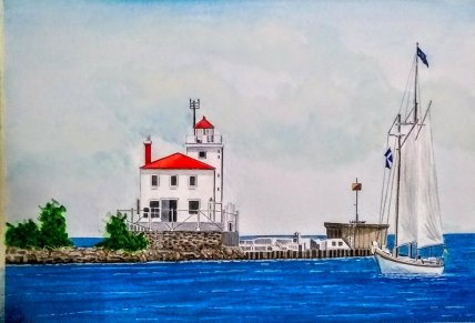 Fairport Harbor West Light Main USA Watercolor Painting by Walt Pierluissi - Doodlewash
