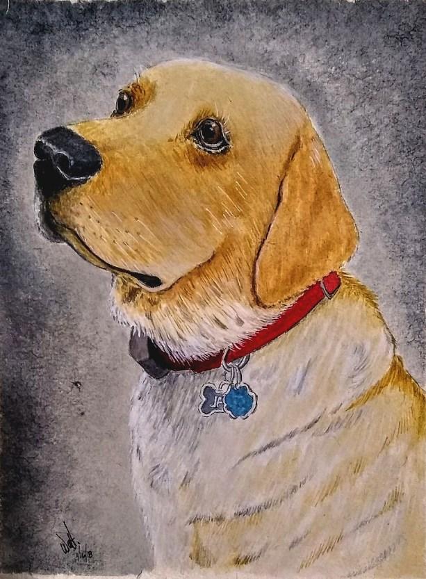Dog Portrait Watercolor Painting by Walt Pierluissi - Doodlewash