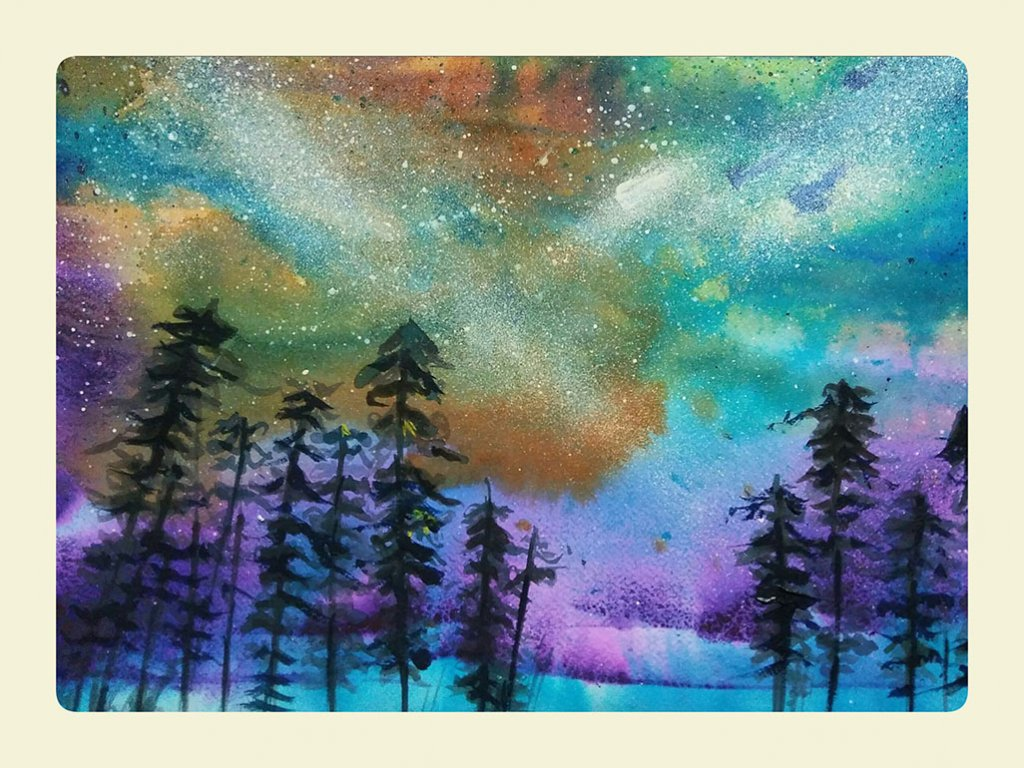 Northern Lights Watercolor Painting by Lalita Sharma - Doodlewash