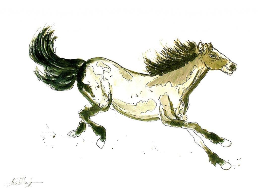Wild Horse Watercolor by Thomas Mühlbauer - Doodlewash