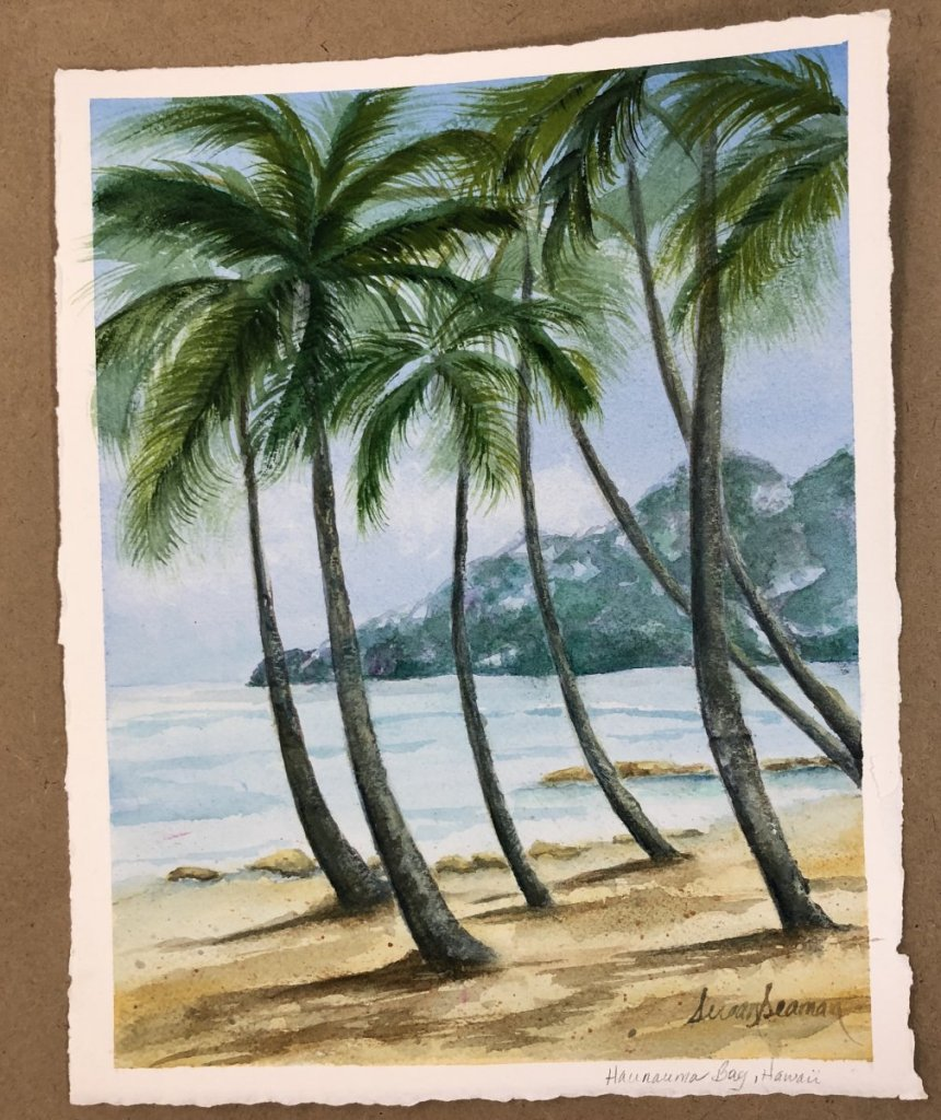My 'At The Beach' watercolor, from last week's class taught by Margie Whittington. I'm hummi