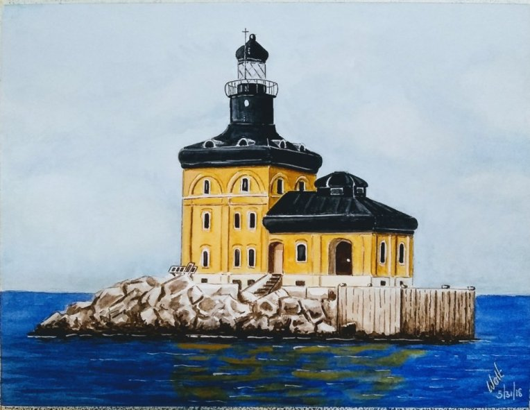 Toledo Harbor Lighthouse, Jerusalem Township Watercolor Painting by Walt Pierluissi - Doodlewash