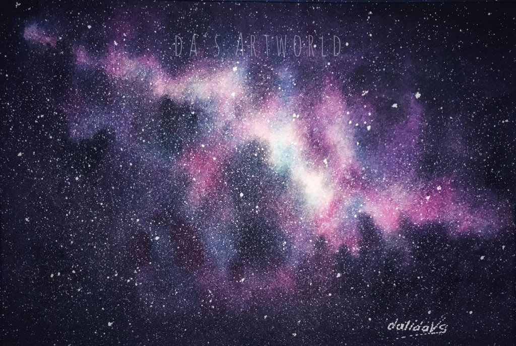 One more galaxy practice, this time on Arches cold press paper 42586387_2213917398851775_16938129698