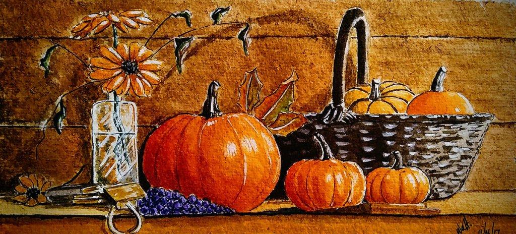 Autumn Watercolor Painting by Walt Pierluissi - Doodlewash