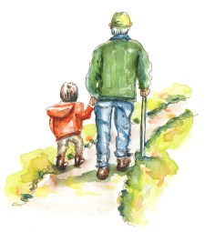 "Boy and Grandpa Watercolor Da Vinci ""Vintage"" Trio - ©Doodlewash"