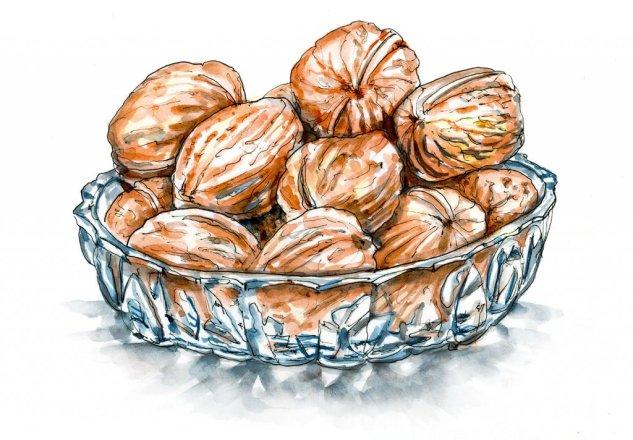 Day 10 - Walnuts Glass Bowl Watercolor Ink Inktober - Doodlewash