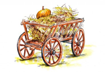 Day 15 - A Wooden Cart With Hay - Doodlewash
