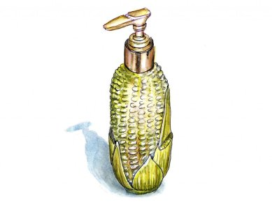 Day 18 - Inktober Watercolor Avon Harvest Corn Lotion Bottle - Doodlewash