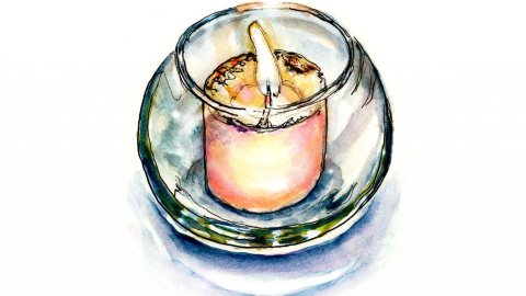 Day 27 - Candle Inktober Watercolor Glass Votive - Doodlewash
